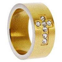 Gold Rhinestone Cross Ring Stainless