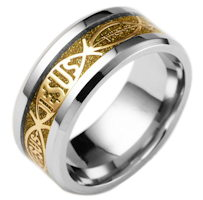 Woman's Jesus Ring Gold Accent Stainless Steel