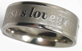 Jesus Loves Me Rings Stainless Steel Silver