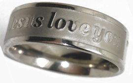 Jesus Loves Me Rings Stainless Steel Silver