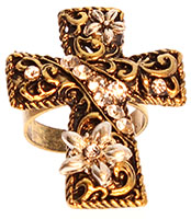 Cross Ring w Crystal Stones - Stretch Sizing