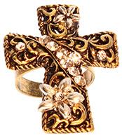 Cross Ring w Crystal Stones