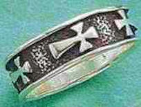 Sterling Silver Antiqued Cross Band