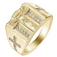 Crucifix Gold Ring Zirconia Stones Woman's