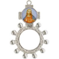 Jesus Divine Mercy Rosary Ring Silver Picture