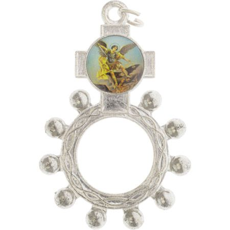 Saint Michael Picture Rosary Ring Silver