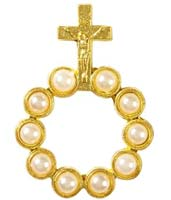 Pearl Beads Gold Rosary Ring