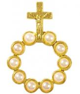 Pearl Bead Gold Rosary Ring