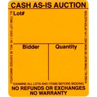 As-Is Fluorescent Orange Auction Label (Roll of 1000)