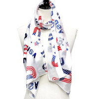 USA Satin Scarf  Patriotic - Easy Care
