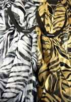 Zebra Print Chiffon Scarf Gold