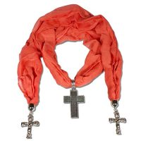 Coral Scarf Necklace with Cross Pendant