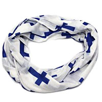 Cross Inspirational Infinity Scarf White, Purple