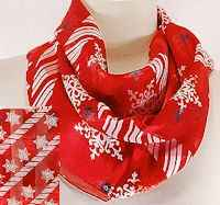 Red Snowflakes Scarf Silk Feel