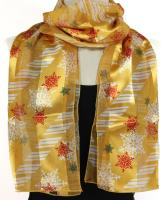 Gold Silk Feel Snowflakes Scarf