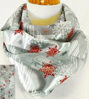 Silver Snowflakes Scarf Silk Feel
