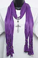 Jeweled Cross Pendant Purple Scarf