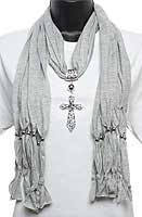 Grey Scarf with Silver Jeweled Cross Pendant