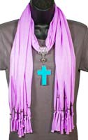 Turquoise Cross Pendant on Purple Scarf