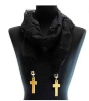 Black Scarf with Gold Cross Charms