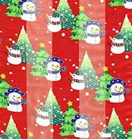 Red Snowman & Christmas Tree Scarf