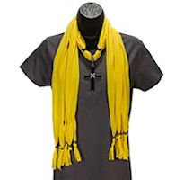 Yellow Scarf with Jeweled Black Cross Pendant
