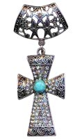Jeweled Silver Scarf Cross Charm Ring With Rhinestones