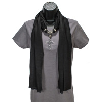 Jeweled Black Pendant Scarf With Black Rhinestone Cross