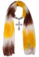 Jeweled Cross Pendant, Red Orange & White Scarf  (Inspirational