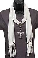 8584 Jeweled Cross Pendant With Ivory Scarf