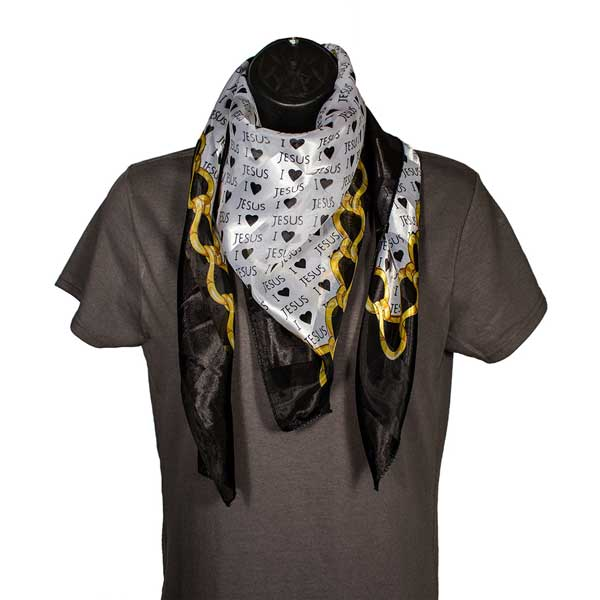 I Love Jesus Black and Gold Scarf