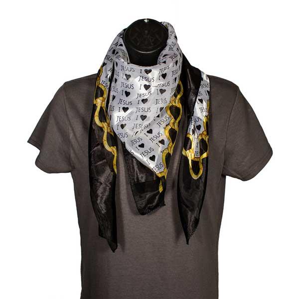 i jesus gold black scarf