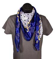 I Love Jesus Blue and Gold Scarf w/ Hearts