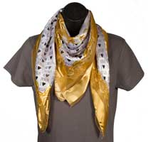 I Love Jesus Gold Scarf w/ Hearts