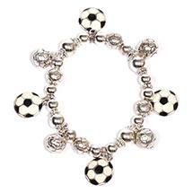 Soccer Balls Bracelets Silver,  European Football