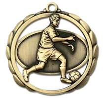 Soccer Award Male Medal w/ Ribbons