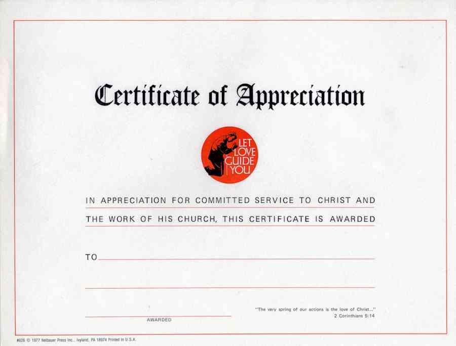 Let Love Guide You Certificate of Appreciation