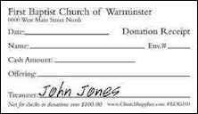 Mini Donation Church Receipts - 1000