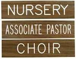 Church Room Signs - Stock Wording Types