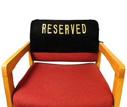 Embroidered Reserved Chair Velvet Cover No Pocket
