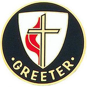 United Methodist Church Greeter Pin Round