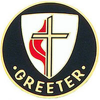 United Methodist Church Greeter Pin Round