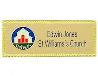 Personalized Gold Usher Badge Magnetic