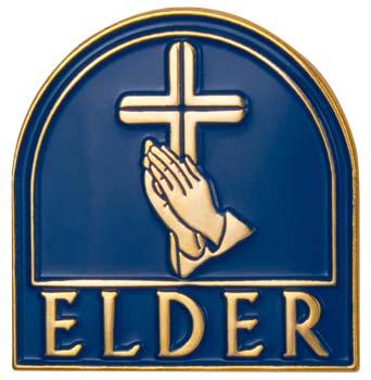 Church Elder Magnetic Back Pin w Cross