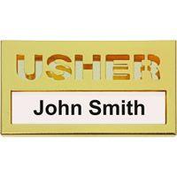 Brass Usher Name Badge