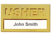 Brass Usher Name Badge
