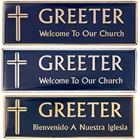 Gold Blue Greeter Magnetic Badge English, Spanish