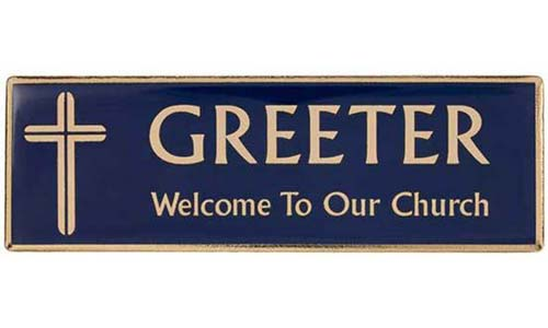 Gold Blue Greeter Magnetic Badge English, Spanish