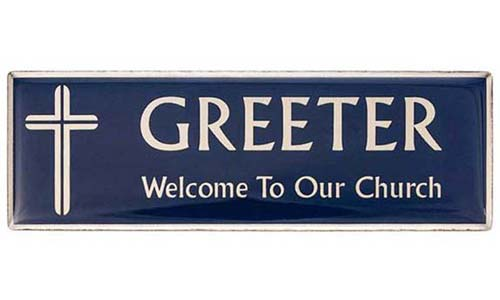 Blue Greeter Magnetic Badge - silver