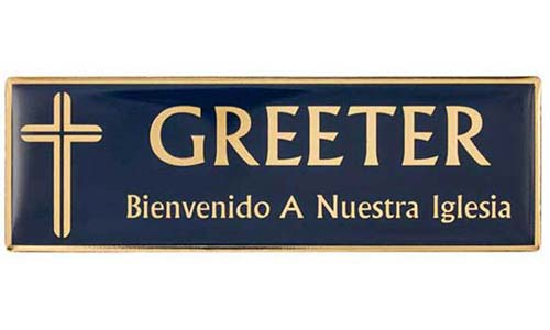 Blue Greeter Magnetic Badge - Spanish